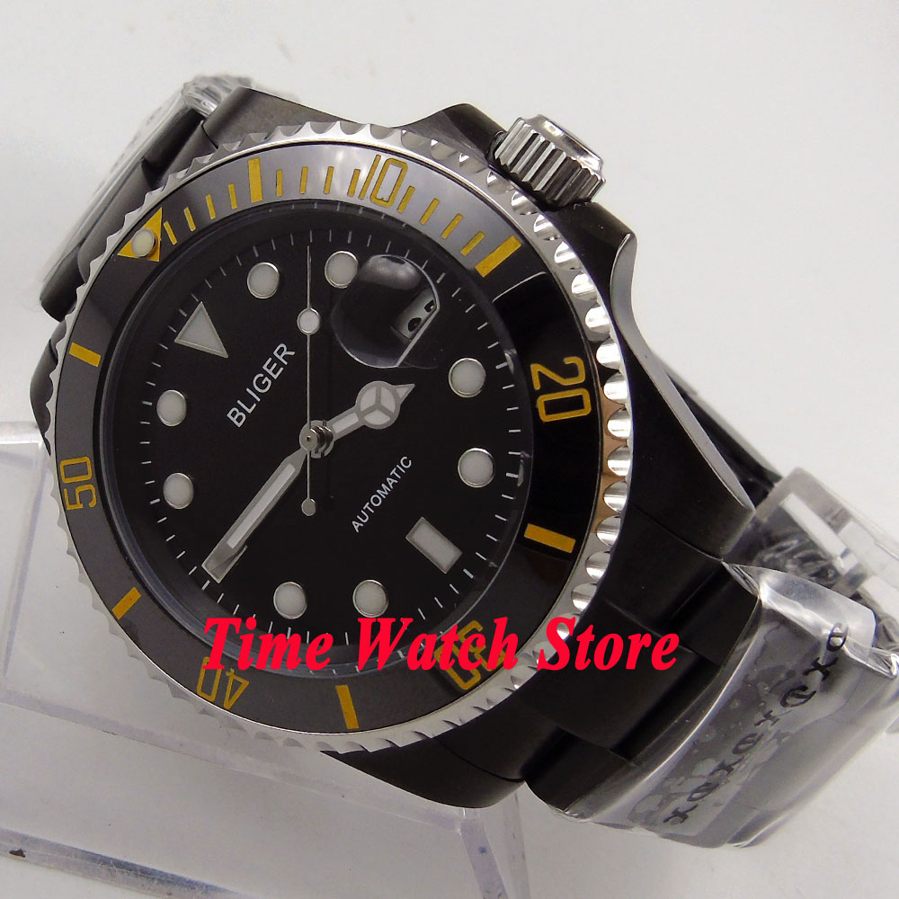 Bliger 40mm blackl dial date luminous PVD case ceramic bezel sapphire glass Automatic watch 168 цена и фото