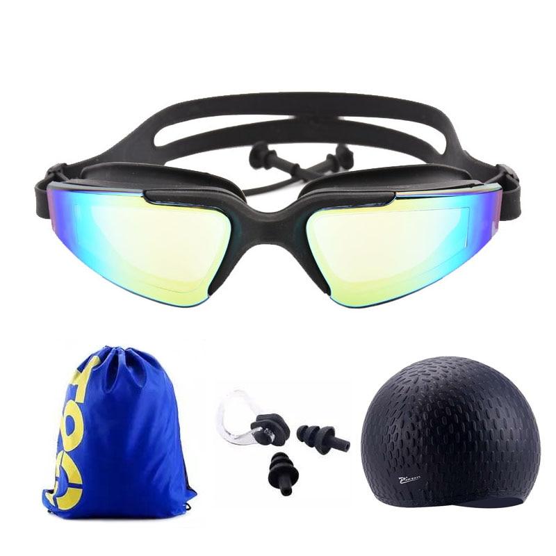 Adult Swimming glasses earplug set Waterproof Silicone Swim cap with Bag Anti-Fog Pool arena Water Swim Eyewear Diving goggles цена