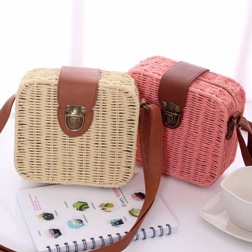 Women Travel Bags With Candy Color Square Straw Bag Small Female Travel Single-Shoulder Bags Cross-body Bag