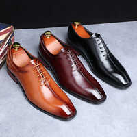 2019 Newest Men Dress Shoes Designer Business Office Lace-Up Loafers Casual Driving Shoes Men's Flat Party Leather Shoes 3 Color