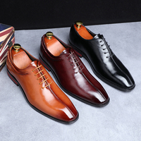 2019 Newest Men Dress Shoes Designer Business Office Lace Up Loafers Casual Driving Shoes Men's Flat Party Leather Shoes 3 Color