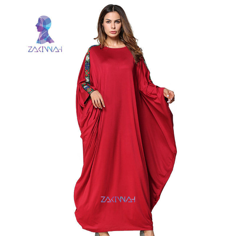 Robe musulmane décorative chauve-souris à manches longues robe musulmane robe longue femmes Abaya turc femmes vêtements