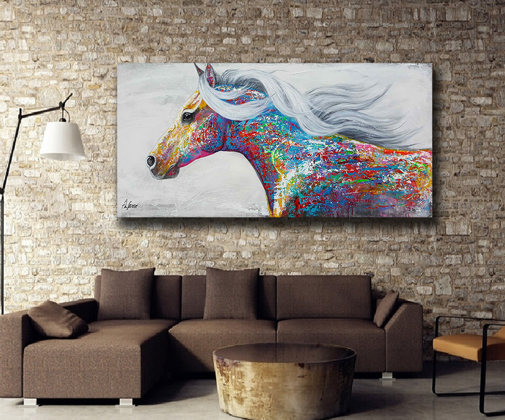 3bbdb8e3976 Wxkoil Art Pop Art Painting Beautiful Running Horse Home Decor On Canvas  Modern Wall Art Canvas Print Poster Canvas Painting-in Painting    Calligraphy from ...