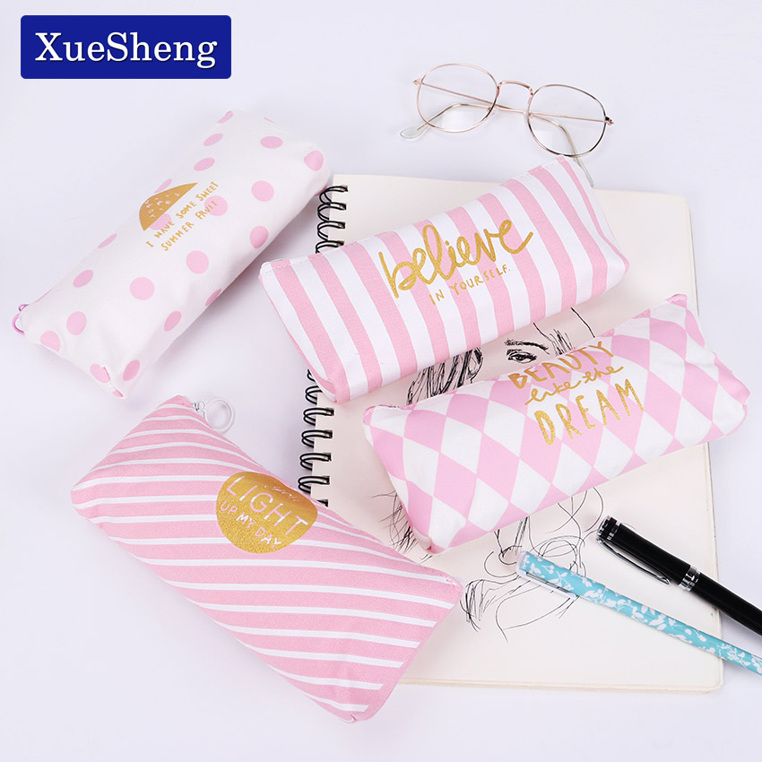 New Fresh Pink Stripe Case Cute Canvas Pencil Bag School Supplies Stationery Material Escolar Pencil Case
