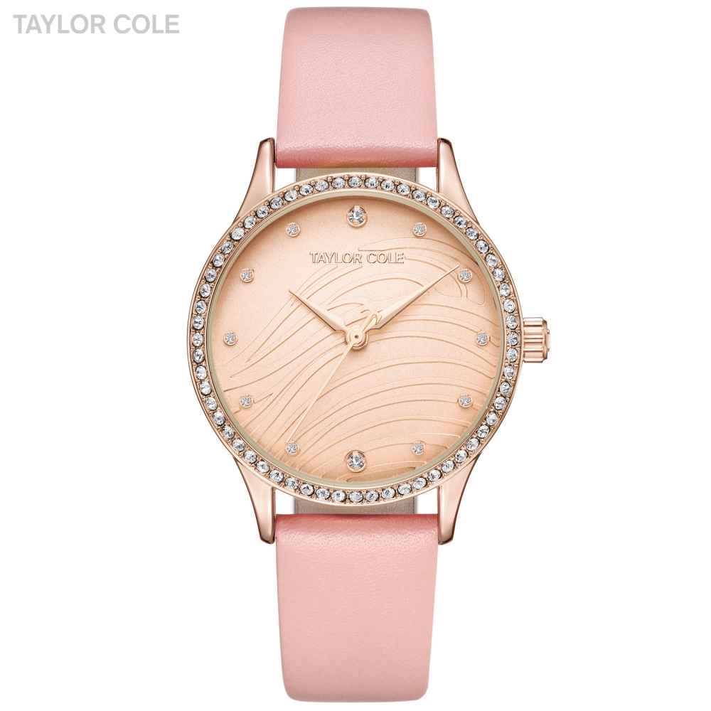 Luxury Taylor Cole Women Watches Ladies Watch Golden Pink Leather Strap Clock Relogios Remininos de Pulso Quartz Watches /TC102 стоимость