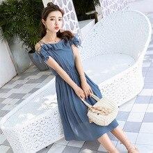 2019 Fashion New Designer Woman Dress Laced Slim Elegant One Shoulder Short Sleeve Blue Ruffle Casual Beach  DressesFemale L203 цены онлайн