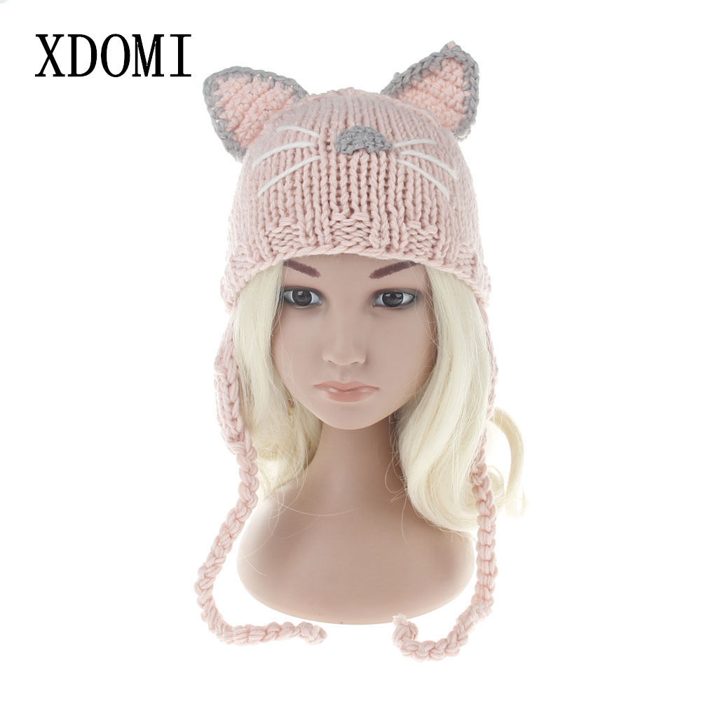 XDOMI New Arrival Winter Kids Hat Wool Knit Beanie Skullies for Girls and Boys Lovely Cat Ear Kids Hats Outdoor Warm Caps new fashion autumn winter children hat cartoon cat tassel baby beanie hat kids wool cap head cap boys and girls warm thicken hat