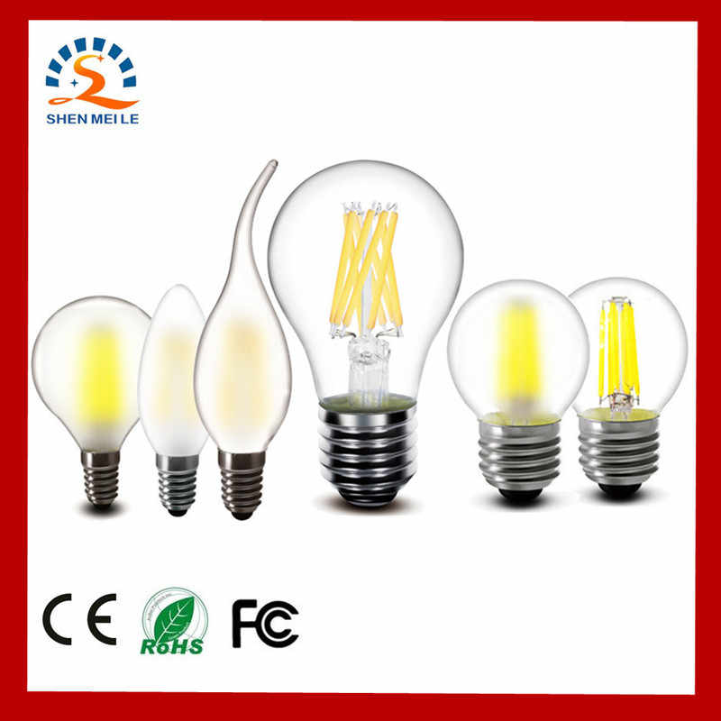 E27 E14 Clear Glass LED Bulb 2w 4w 6w 8w A60 G45 ST64 220v AC LED candles Lamp Frosted Filament light 240v AC Indoor lighting