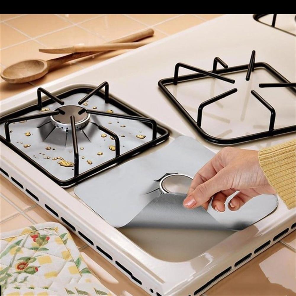 4 unids 0.11 mm de espesor de fibra de vidrio protectores de la estufa de gas estufa de gas reutilizable quemador de la cubierta del trazador de líneas estera almohadilla hogar herramientas de cocina