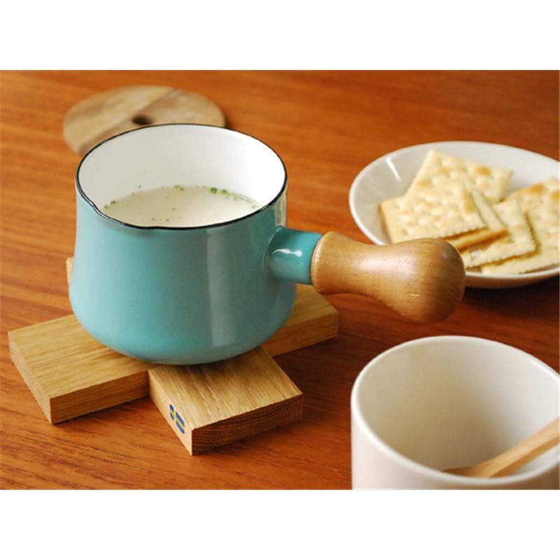 9cm Enamel Milk With Single Wooden Wooden Electromagnetic <font><b>Sauce</b></font> <font><b>pan</b></font> Small