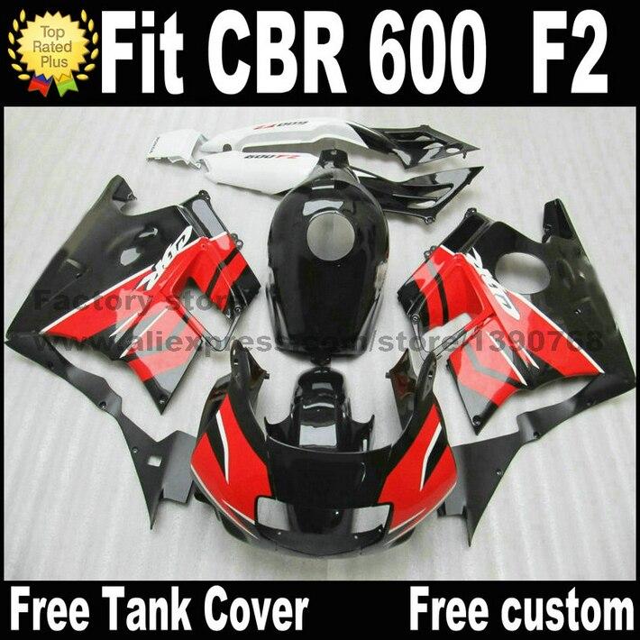Full fairing kit for HONDA CBR 600 F2 1991 1992 1993 1994 fairings CBR600 91 92 93 94 red black bodywork  CV49
