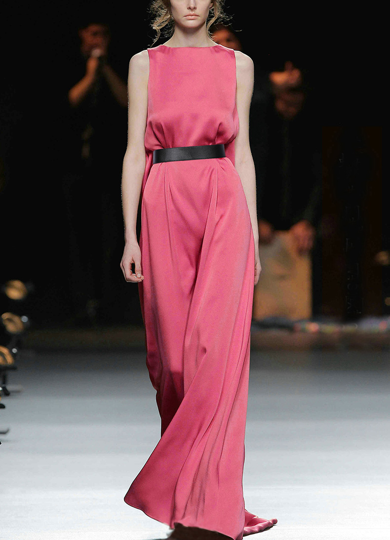 Voir Orange fée Vintage rose robe femmes robe d'été Sexy robe de soirée lumineux Satin Boho robe longue SO3327