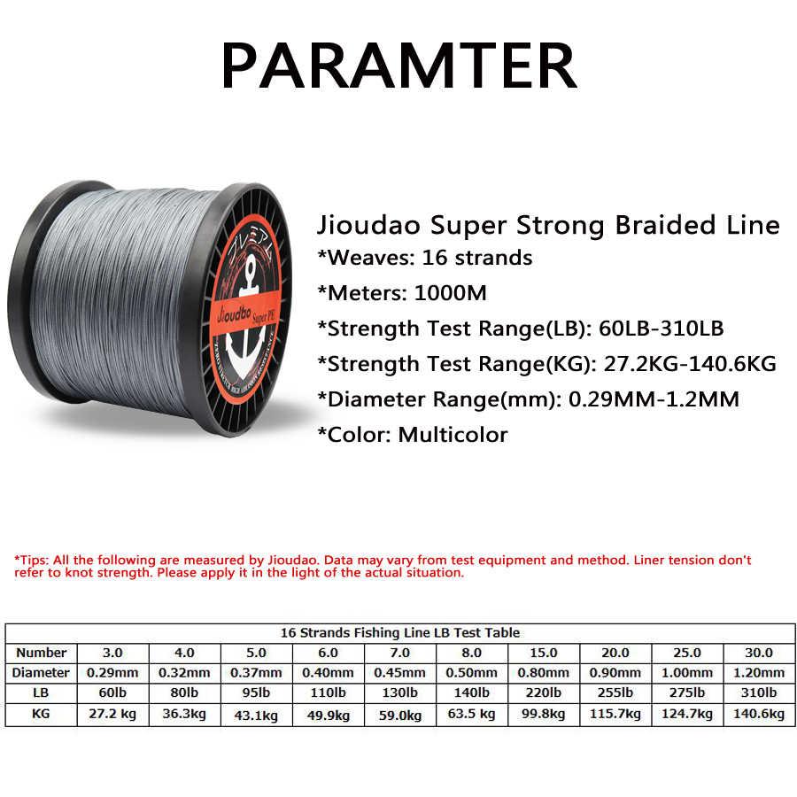 Jioudao série 16 brins 1000 M Super fort tressé fil de pêche 60LB-310LB Multifilament PE ligne pour la pêche à l'esturgeon