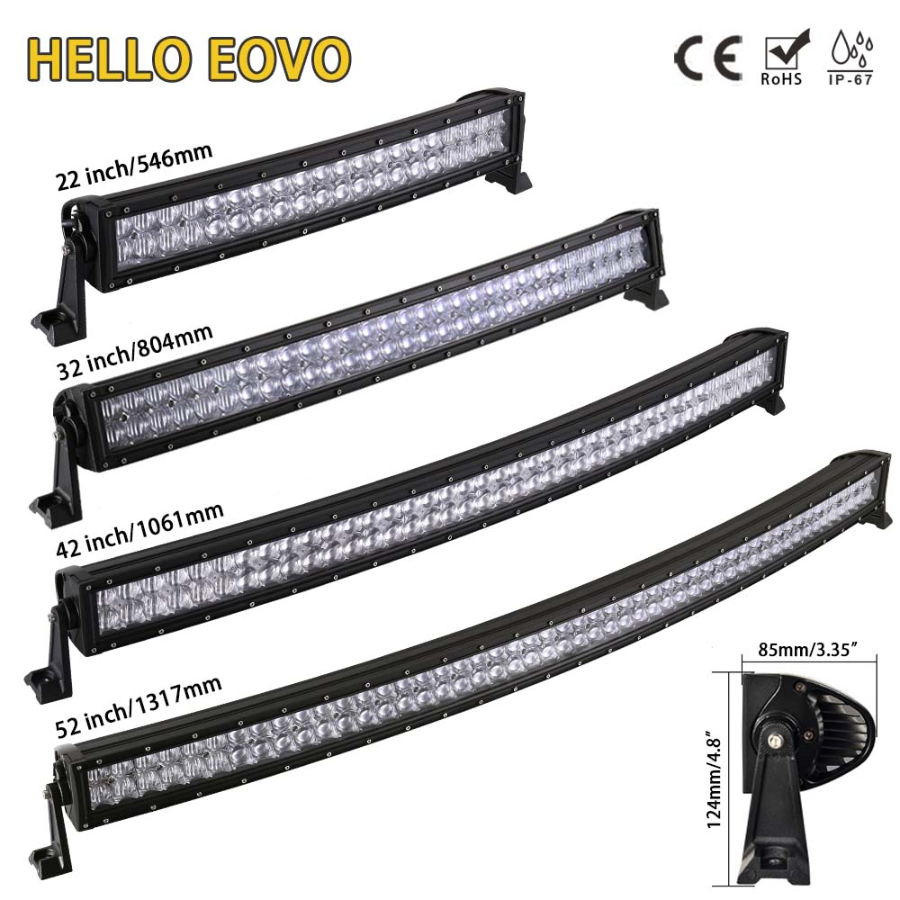 Bonjour EOVO 5D 22 32 42 52 pouces barre de lumière à LED incurvée barre de LED lumière de travail pour la conduite tout-terrain voiture tracteur camion 4x4 SUV ATV 12V 24V