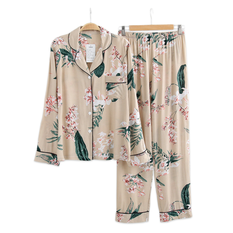 Fresh Greenery rayon women   pajamas     sets   Summer cool casual long sleeve pyjamas women cozy spring korean   pajamas   pijama mujer
