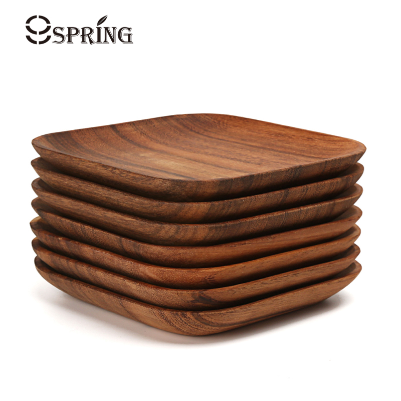 2Pcs Square Wooden Plate Set Premium Acacia Wood Cake Plate Dishes Dessert Serving Tray Wood Sushi Plate Dinnerware Tableware