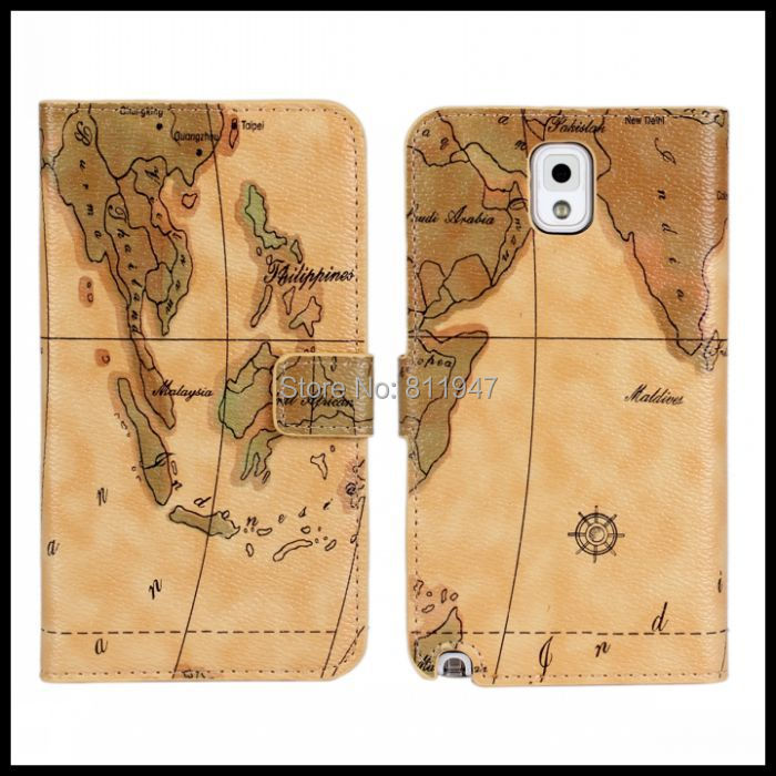 25e37987294 Bolsas de teléfono móvil para Samsung nota 3 N9000 Note3 casos cubierta  mundo mapa del mundo Etui Coque de la nebulosa Capa Carcasa Fundas Hoesjes