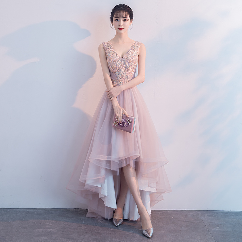 2019 new elegant and elegant dignified atmospheric pink   bridesmaid     dress   wedding guest   dress   sexy   dress   A-Line Lace