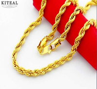 New Sale 24k Yellow Gold Color 6MM Twisted Rope Necklace Chains 20inchs Chain For Men