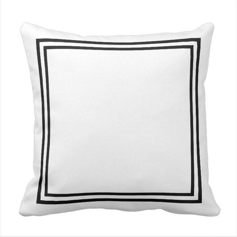Black And White Border Framed Throw Pillow Case