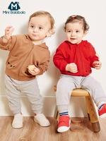 Mini Balabala Baby Bodysuit + Critter Zip Hoodie + Jogger Pants 3 Piece Set Long Sleeve Cotton Newborn Infant Baby Boy Clothes