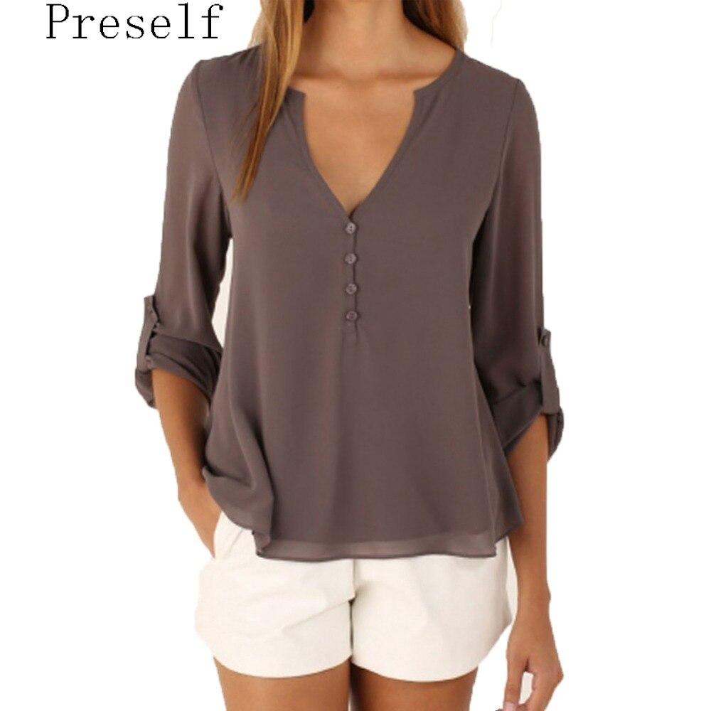 Preself Blouse Chiffon Shirt Tops Women s