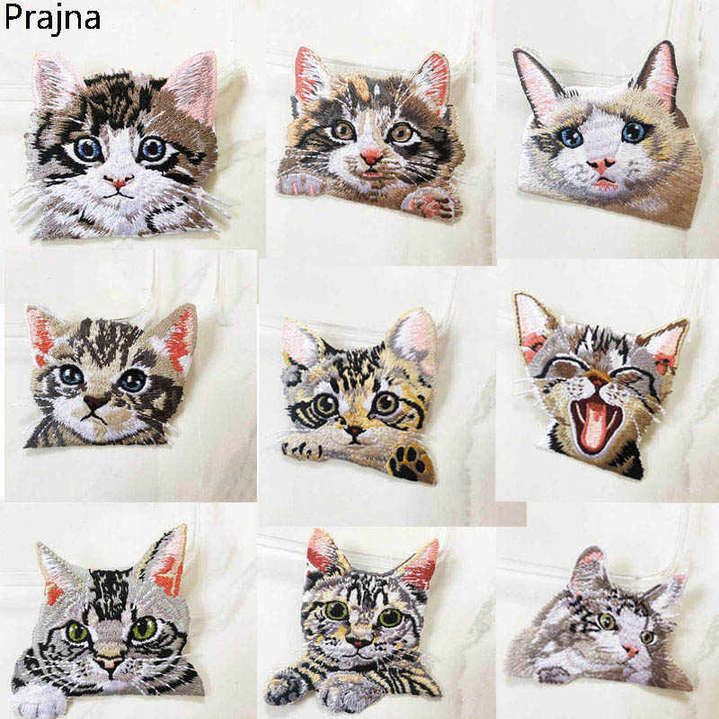 Prajna Anime Cat Patch Embroidery Badge Applique Pocket Patch Cute Cheap Embroidered Iron On Cartoon Patches For Clothes Sticker