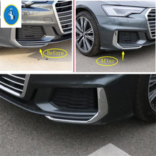 Yimaautotrims Auto Accessory Front Fog Lights Lamp Eyelid Eyebrow Strip Cover Trim Chrome Fit For Audi A6 C8 2019 2020 ABS yimaautotrims auto accessory front fog lights lamp eyelid eyebrow cover trim fit for ford mondeo fusion 2017 2018