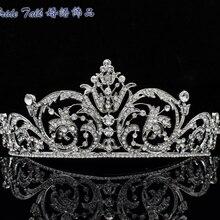 Chic Clear Rhinestone Crystal Flower Tiara Crown Headband For Women Wedding accessories Bridal XBY158 Free Shipping chic wide link rhinestone flower necklace for women
