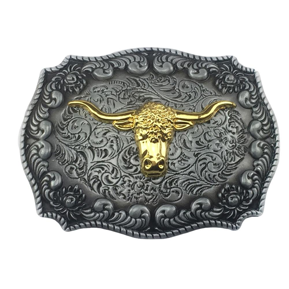 New Fashion Cool Golden Buckle Belt Vintage Western Cowboy Golden Long Horn Bull Head Floral Zinc Alloy Belt Buckle