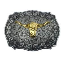 New Fashion Fresco Cowboy Ocidental Cinto de Fivela de Ouro Do Vintage Dourado Longo Chifre do Touro Cabeça Floral Belt Buckle Liga de Zinco(China)