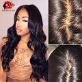 8A Peruana Virgin Hair Body Wave Superior de Seda Pelucas Llenas Del Cordón Base de seda Del Frente Del Cordón Pelucas Para Las Mujeres Negras con el Pelo Del Bebé alrededor de