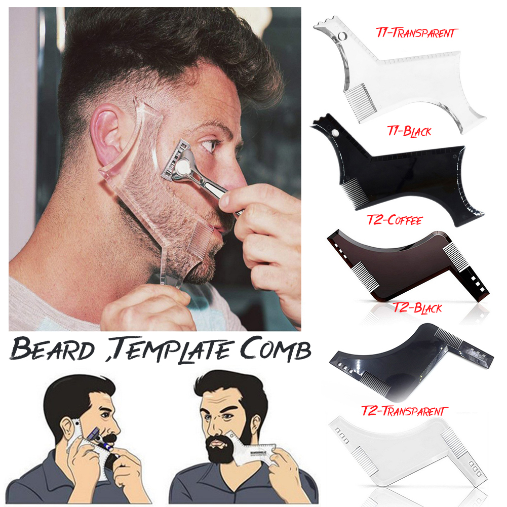 1Pcs Men Beard Shaping Styling Tool Beard Trim Comb Shaper Template For Shaving Beard Straightener Hair Brush Beard Comb