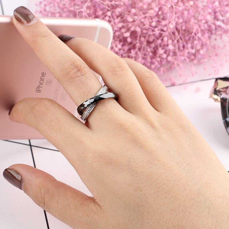 Kvinnor Ringar Tillverkad av Keramik Rostfria Ringar Dubbel Två - Märkessmycken - Foto 6