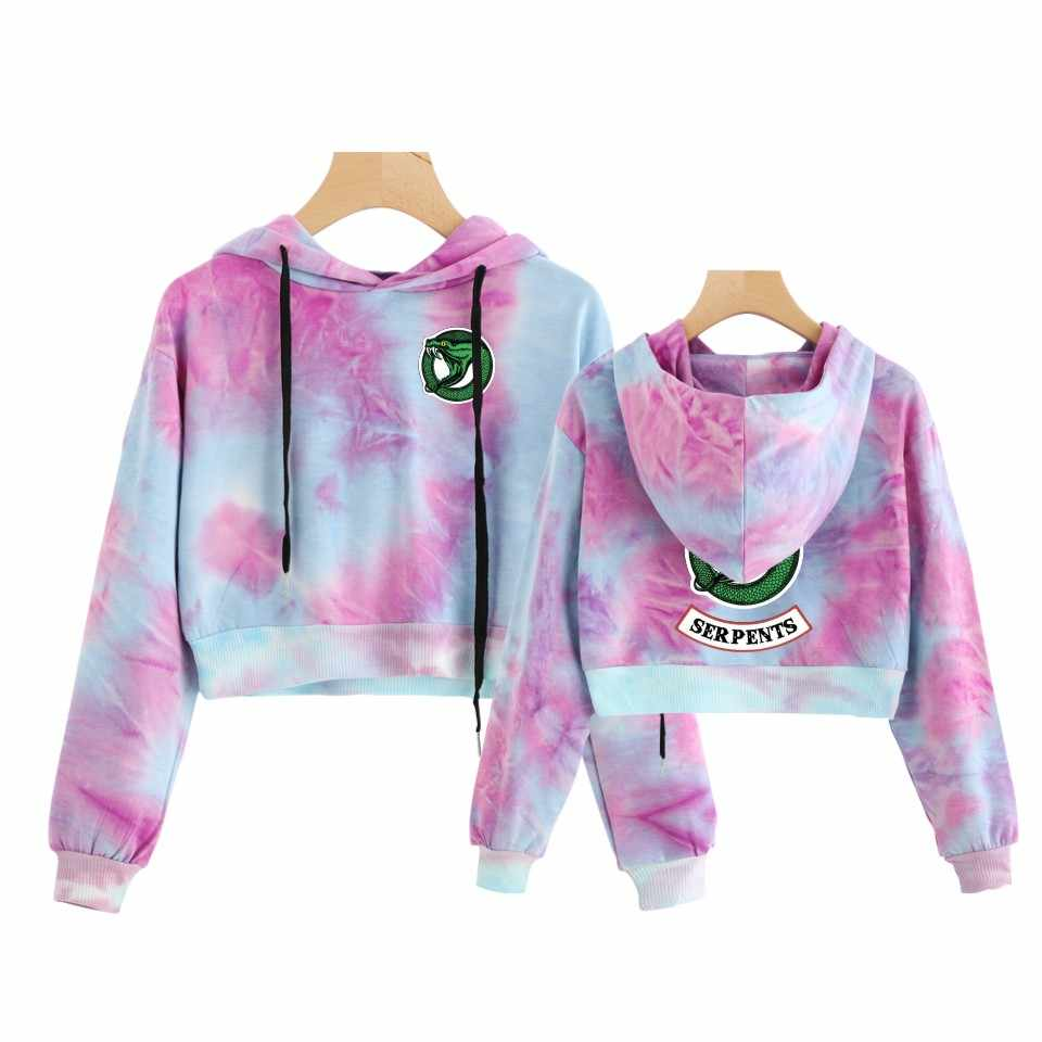 European Riverdale print patchwork hoodie short for women Crop Top Women  Sweatshirt Sexy Clothing hooded Harajuku Fashion style