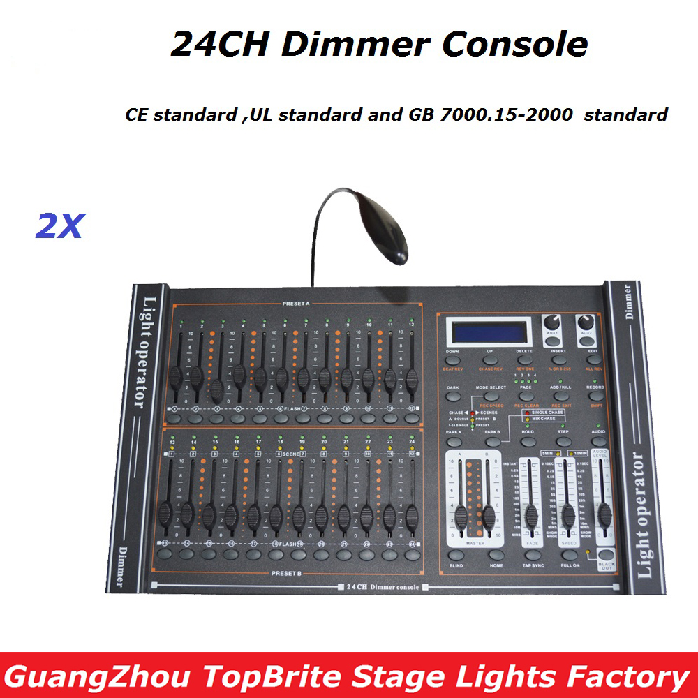2Pcs Dimmer Console 24 Channels DMX 512 Controller,High Quality Stage Lights Controller DMX Disco Club/Professional Equipments 2pcs high quality 512 dmx console stage light equipment 192 dmx controller for stage lighting led par beam lights