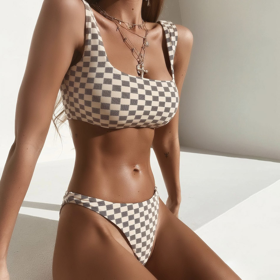 Women Push Up Plaid Bikini Set 2018 High Waist Swimwear Bandeau Swimming Suits Biquini Two Pieces Swimsuit Sexy Bathing Suit S-L popular dot bikini bandeau push up swimwear women strapless swimsuit off shoulder bathing suit beachwear thong