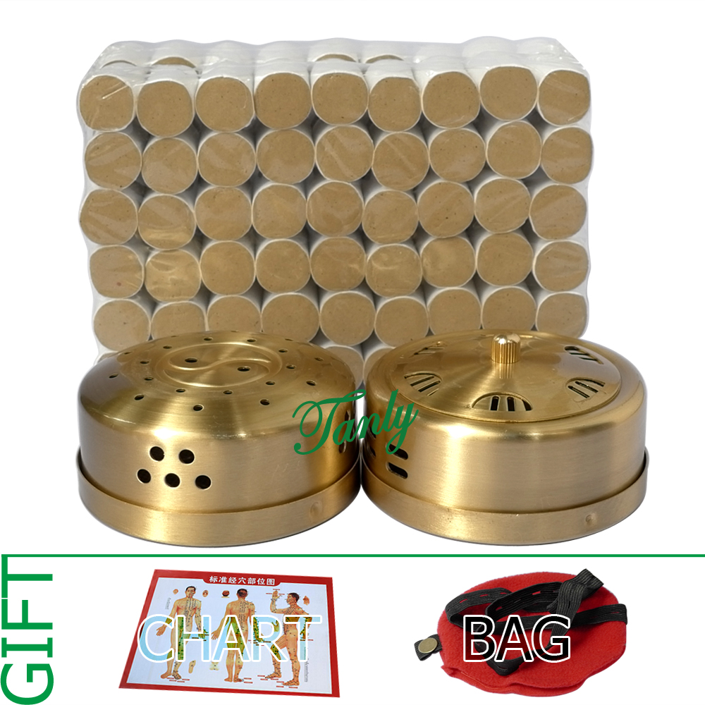 цена на Retail moxibustion suit 2pcs new type thicken copper moxa box + 108pcs 5 years 45:1 little smoke mugwort moxa roll gift bag