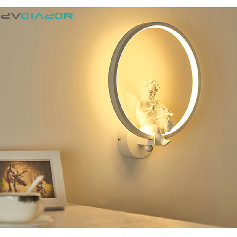 DVOLADOR Modern Art Angel 18W LED Wall Sconce Lamp Staircase Aisle LED Light Creative Living Room Cafe Bedside Bedroom Wall Lamp european style simple modern art small round wall lamp living room bedroom aisle study room sconce wall lights led aluminium