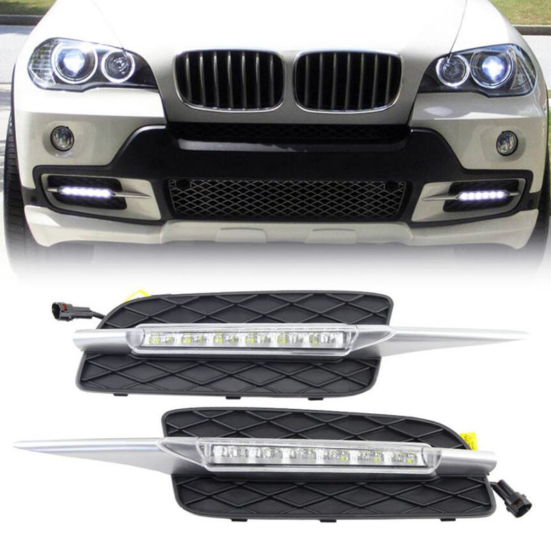 High quality DRL For BMW X5 E70 2007 2008 2009 2010 Daytime Running Lights Daylight Car LED Fog head Lamp cover drl daytime running lights for mercedes benz w164 gl320 gl350 gl420 gl450 gl550 2006 2007 2008 2009 led daylight signal light