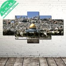 дешево!  5 Шт. Иерусалимский Дворец Холст Картины Стены Искусства Картины Печать на Холсте Home Decor Плакат