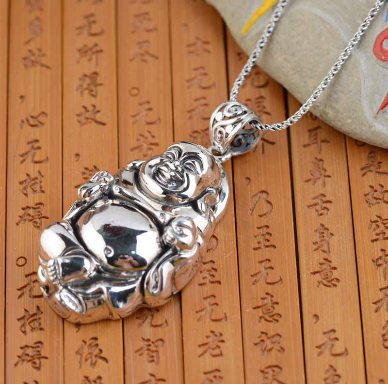 [Maitreya] deer King silver Buddha Pendant S925 sterling silver silver wholesale antique style Buddha 8 china bronze cloisonne eight immortals maitreya buddha censer incense burner d0426