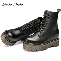 Smile Circle Size36-41 Chunky Motorcycle Boots For Women Autumn 2018 Fashion Round Toe Lace-up Combat Martin Boots Ladies Shoes 3