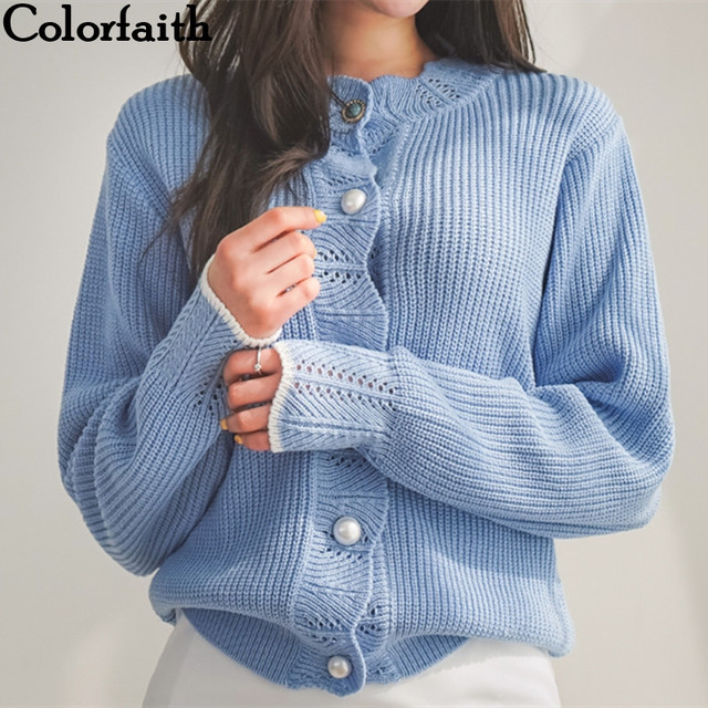 4cb280ce88 Colorfaith Women Cardigans Sweater New 2019 Knitting Autumn Winter Casual  Buttons Single Breasted Elegant Ladies Tops SW8100