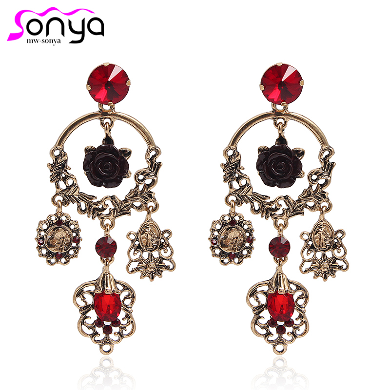 Earrings Antique Gold Vintage Dangle Earrings Luxury Red Crystal Boho Carved Rose Ear Decoration Party Jewelry 3b3018 With Traditional Methods