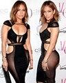2016 Sexy Jennifer Lopez Celebridade No Tapete Vermelho Vestidos de Noite baratos sexo Preto Sheer Recorte Backless do baile de Finalistas da noite Vestido de Festa