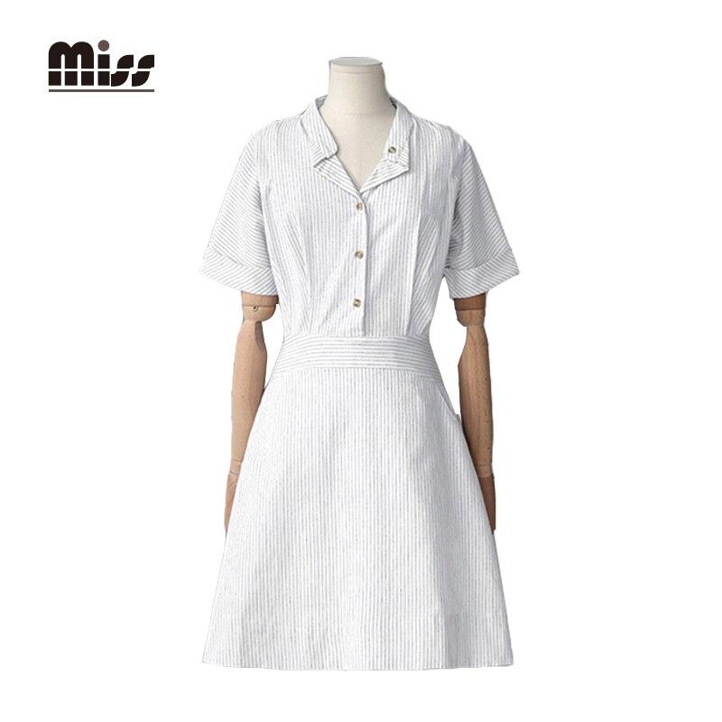 Miss 2016 Korean Summer Women White Shirt Linen Dress