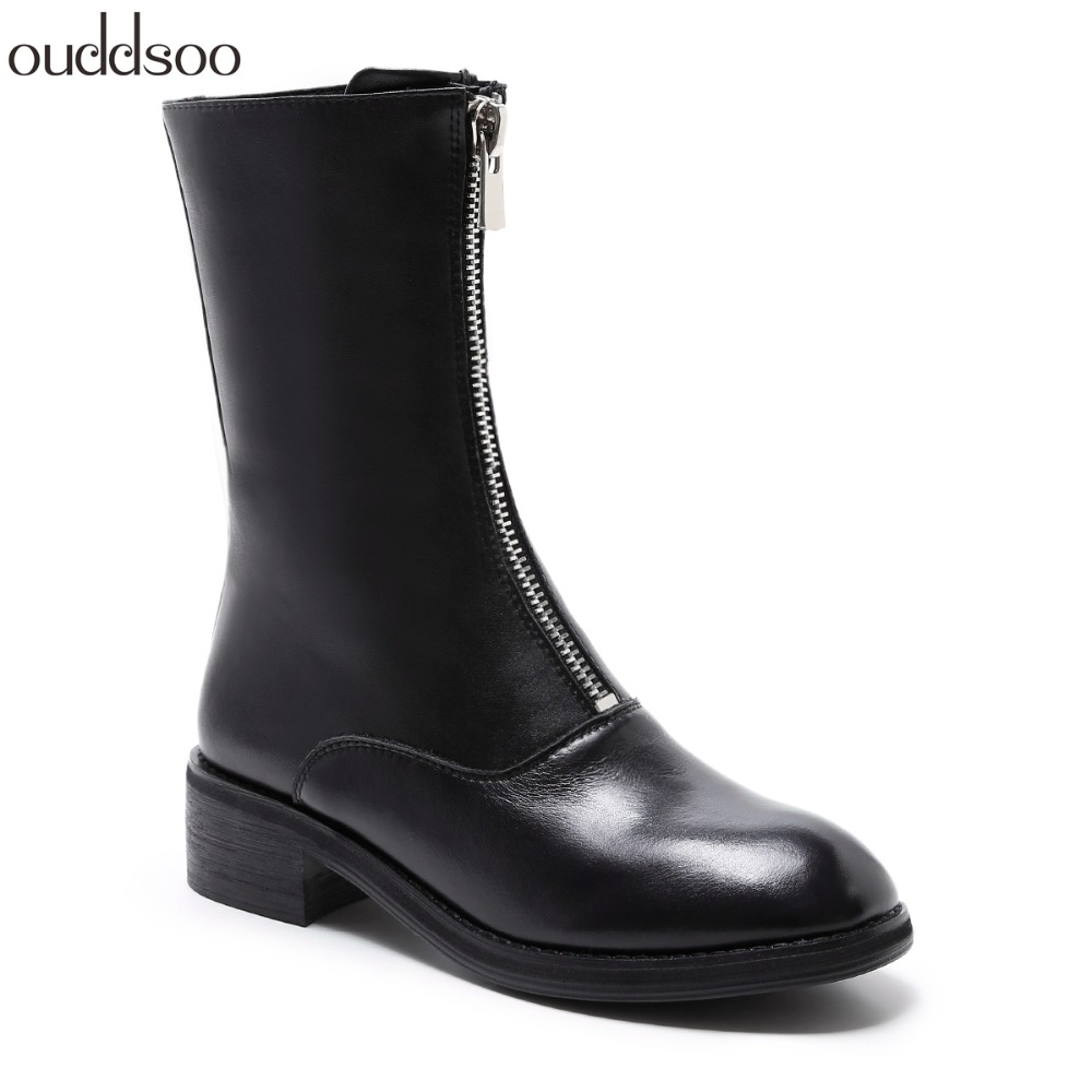 Fashion Chelsea Boot Genuine Leather Woman Party High Heel Black Mulheres mid calf Boots Women Brand Chaussure Bottes Zipper