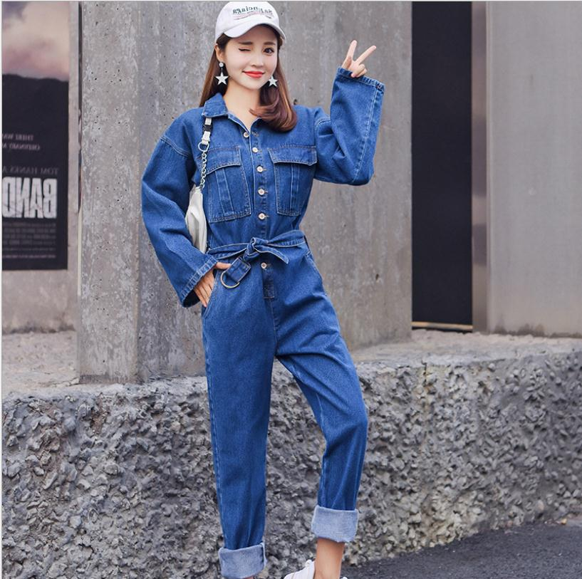 Newest Womens Spring Autumn Long Sleeve Rompers High Waist Jeans Bodycon Romper Wide Leg Female Fashion Jumpsuits J2957