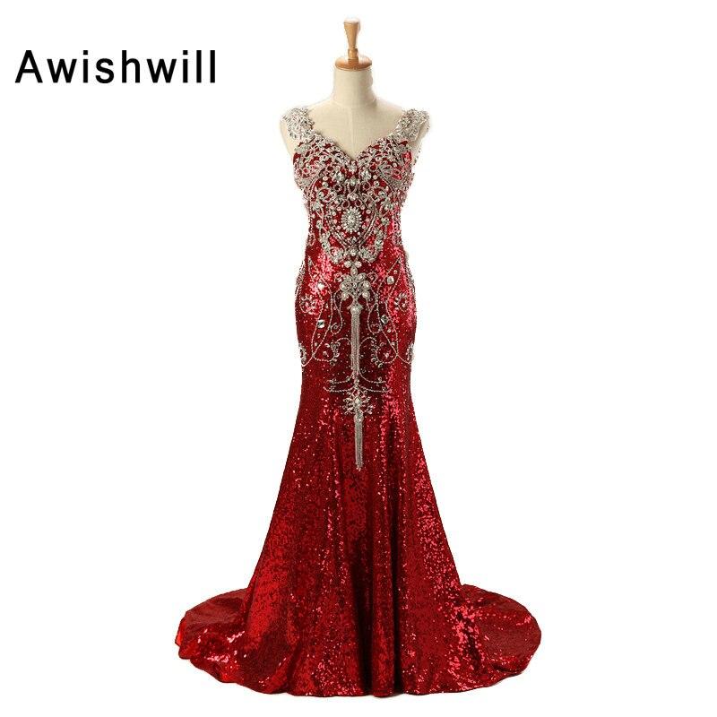 Custom Luxury Red Long Sequin   Dress   Robe de Soiree Femme V-neck Crystal Beadings Mermaid Long Party Gowns Dubai   Evening     Dresses